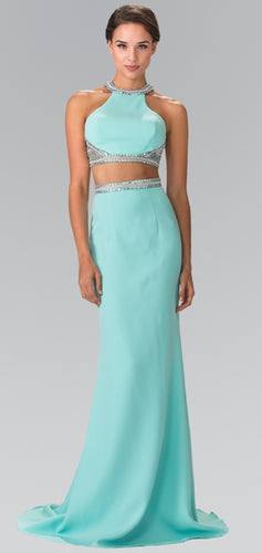 High Neck Two-Piece Long Dress