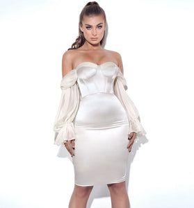 Lydia White Satin Dress