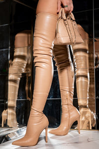 Diana Over The Knee Leather Boots - Nude