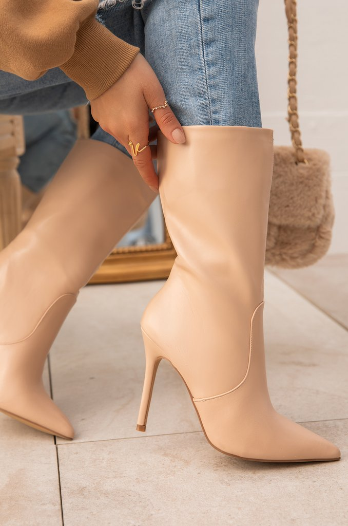 Paris Faux Leather Booties - Nude