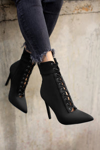 Karol Lace up Booties - Black