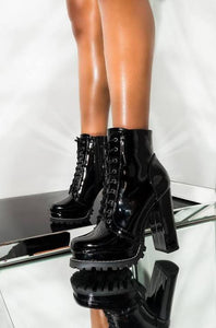 Ciara Platforms Booties - Black & White