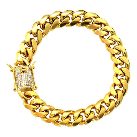CUBAN LINK BRACELET WITH ICED CLASP