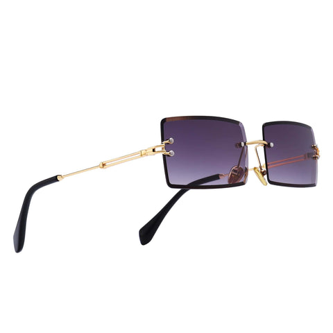 Wavy - Tinted Rimless Rectangle Sunglasses