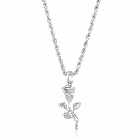 Rose Pendant Necklace (Silver)
