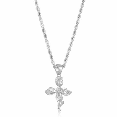 Angel Pendant Necklace (Silver)