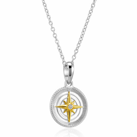 Compass Pendant Necklace (Two Tone)