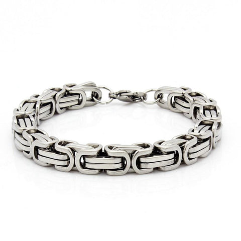 "MENS 8.5"" STAINLESS STEEL SILVER BOX BYZANTINE CHAIN LINK BRACELET"