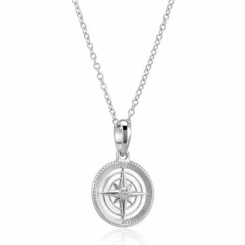 Compass Pendant Necklace (Silver)