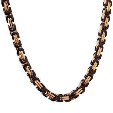 8MM GOLD & BLACK BYZANTINE CHAIN