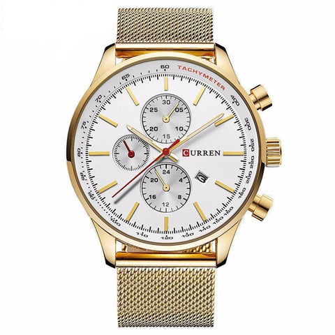 Tachymeter Sports Watch with Alloy Band