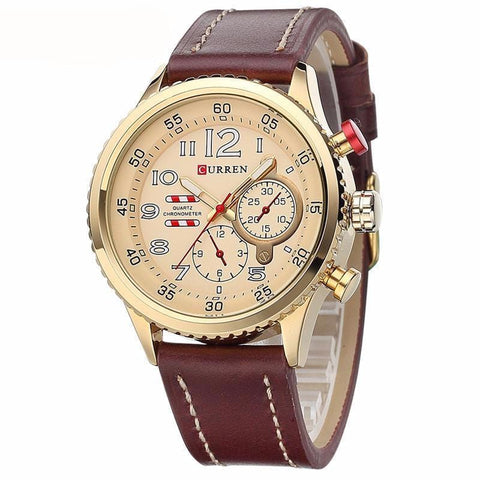 Luxury Sports Watch with Genuine Leather Strap