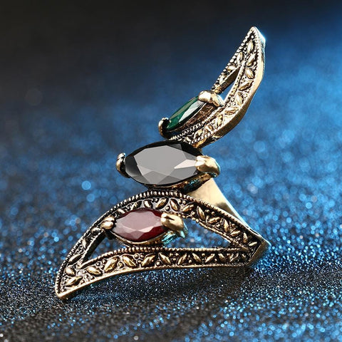 Mosaic Antique Resin Ring For Women