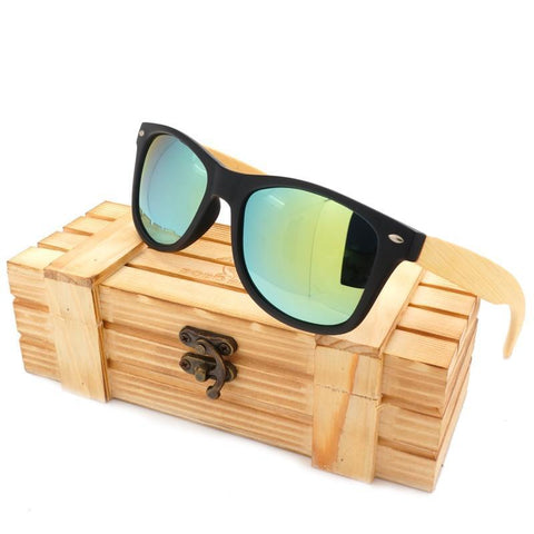 Square Sunglasses with Bamboo Legs + Wood Box
