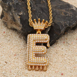 14k Gold Zirconia Bubble Initial Letter + Custom Crown Chain Pendant Men's Necklace
