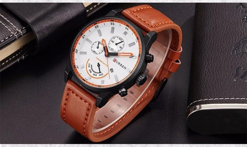 Sport Casual Men's Quartz Leather Chronograph Watch