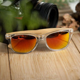 Clear Color Wood Bamboo Sunglasses with Polarized Lenses and Plastic Frame + Wood Box