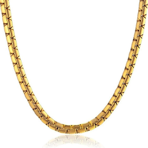 "26"" 10k Yellow and White Gold Flat Chain Men's Necklace"