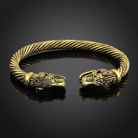 Indian Viking Wolf Head Cuff Bracelet