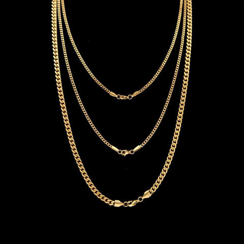 JEWELRY SET - 3X CUBAN CHAIN GOLD
