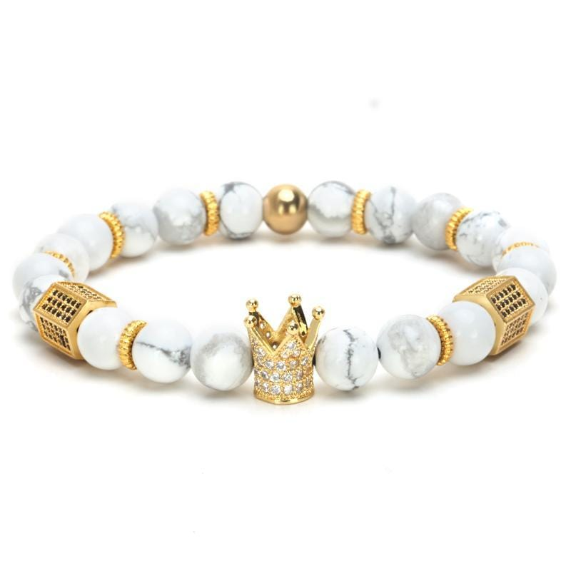 39e7085ff8309 Multi Design Imperial Crown + Natural Stone Beads Bracelets