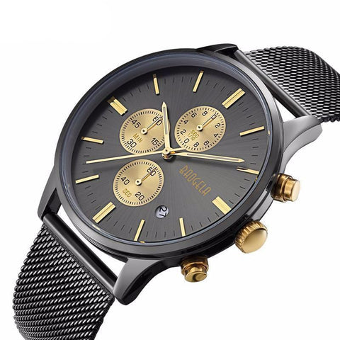 Chronograph Wristwatch with Stainless Steel Mesh Band