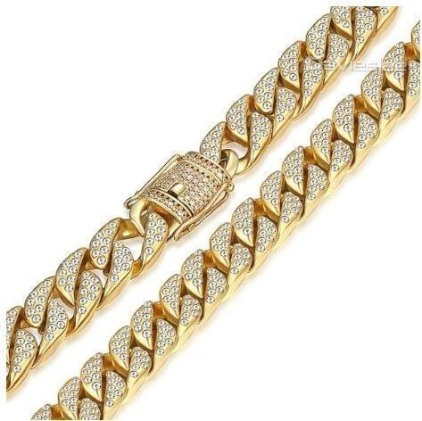 14mm Miami Iced Curb Cuban Chain Gold Necklace