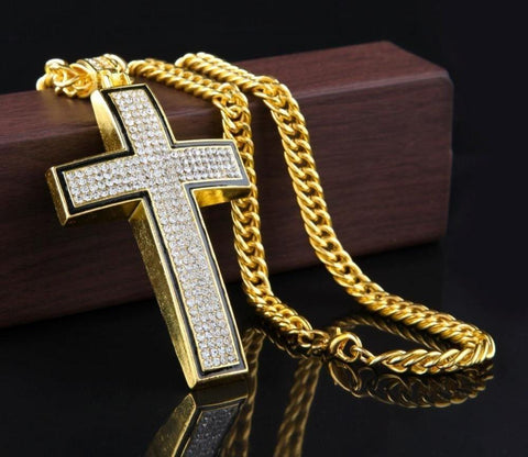 ICED CROSS GOLD CHAIN