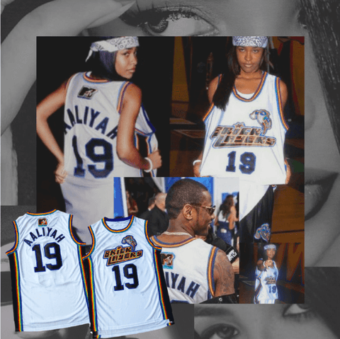 AALIYAH - #19 BRICKLAYERS BASKETBALL JERSEY - SIXTH ANNUAL ROCK N' JOCK B-BALL JAM 96'