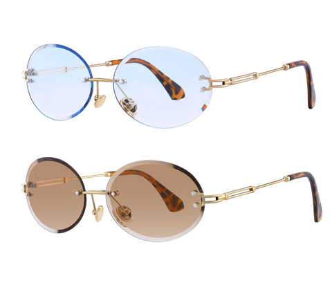 Stratos 2PACK - Retro Oval Rimless Tinted Glasses (Blue Tint x Brown Tint)