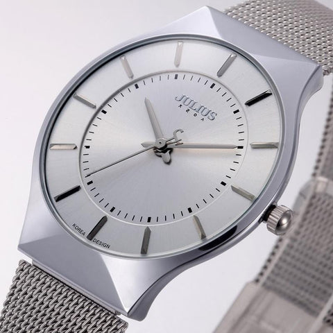 Ultra Thin Sports Watch with Stainless Steel Mesh Belt