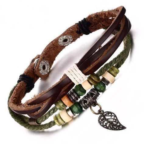 Multi-layer Genuine Leather Bracelet with Leaf