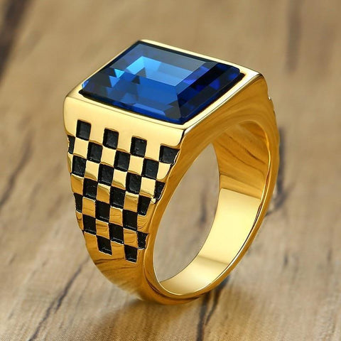 Signet Large Checkerboard Square Blue/Black Stone Men's Ring