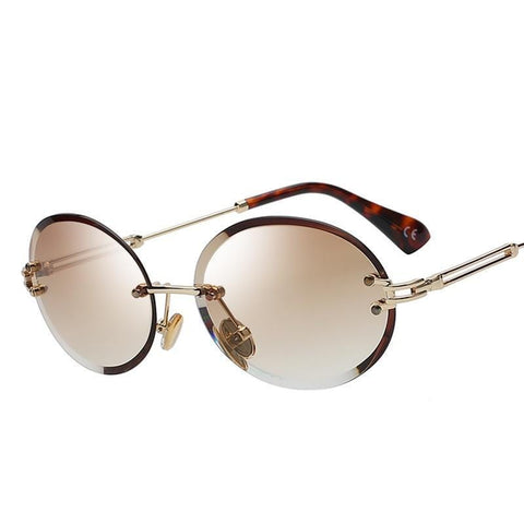 Stratos - Retro Oval Rimless Tinted Glasses