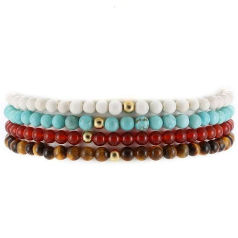 Multi Design Tiger Eyes + Natural Stones + Round Beads Bracelets