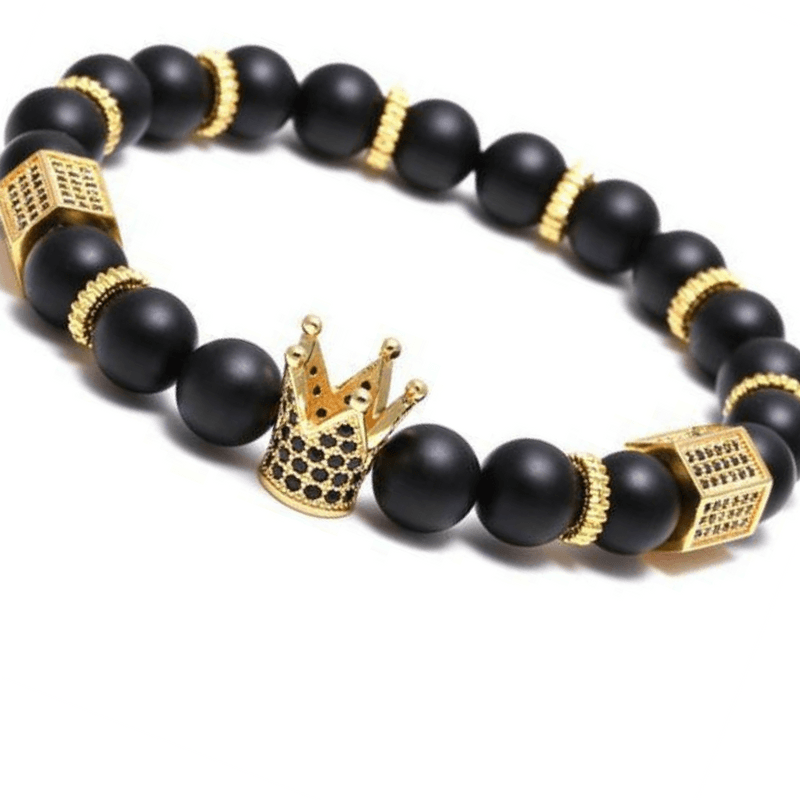 dbfd68096d6bf Gold King's Crown + Stone Beads Bracelet