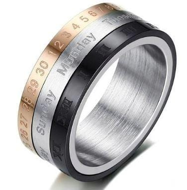 Cool Stylish & Rotatable 3-Part Calendar Ring