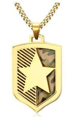 24 inch Gold Chain Five-pointed Star Camouflage Mens Necklace