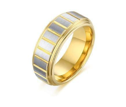 8mm Two Tone Gold Silver Tungsten Carbide Ring