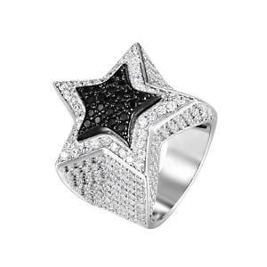 MEN'S STERLING SILVER 3D WHITE GOLD & BLUE STAR RING
