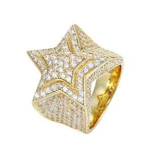MEN'S STERLING SILVER 3D GOLD STAR RING