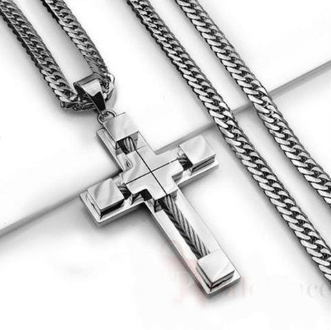 STAINLESS STEEL SILVER CABLE CROSS PENDANT