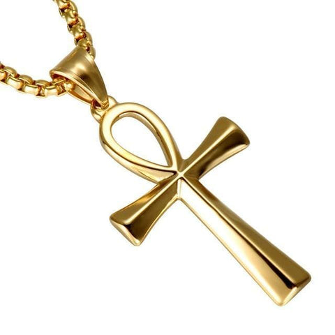 14k Gold Plated Simple Cross Long Chain Link Necklace
