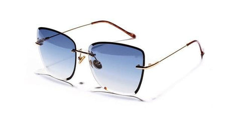 Notchy - Gradient Square Retro Clear Rimless Sunglasses
