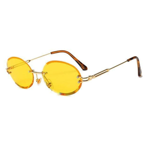 Stratos V2 - Retro Oval Rimless Tinted Glasses