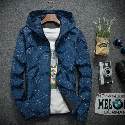 Constellation Print Waterproof Hooded Jacket