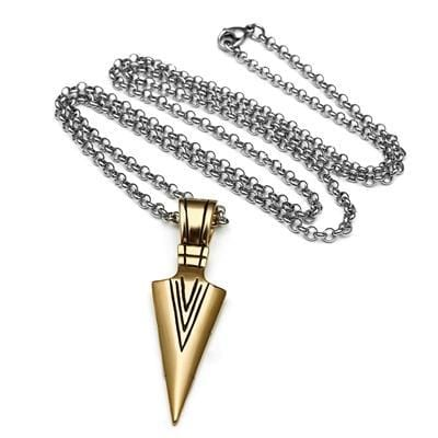 Geometric Gold Triangle Men's Punk Necklace