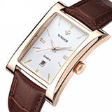 Luxury Square Watch with Leather Strap