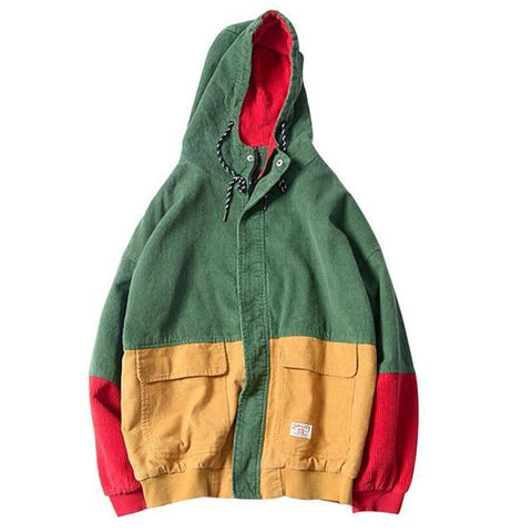 Color Block Patchwork Corduroy Hooded Jacket