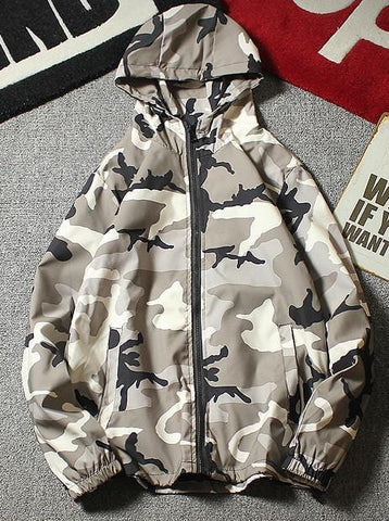 Camo Print Waterproof Hooded Jacket